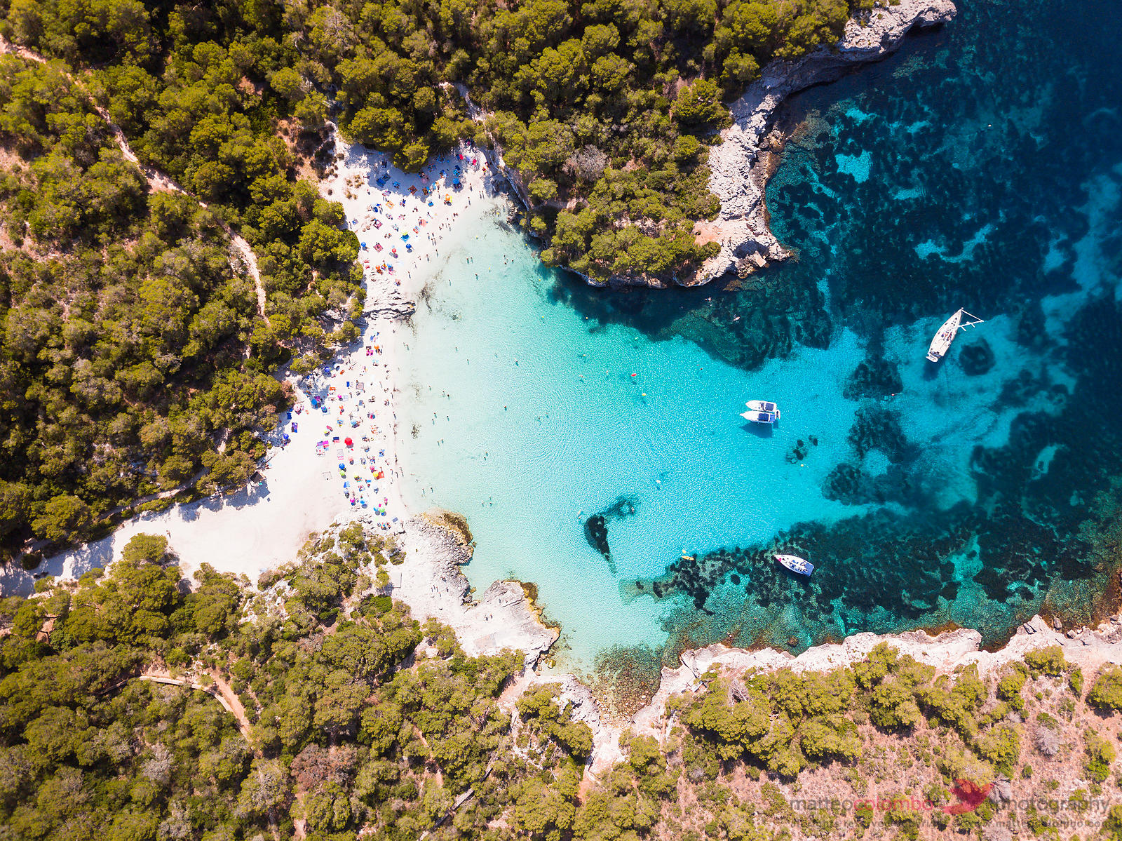 Overhead view of Cala Turqueta beach, Menorca