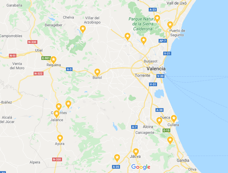 LOCALIZACIÓN CASTILLOS VALENCIA
