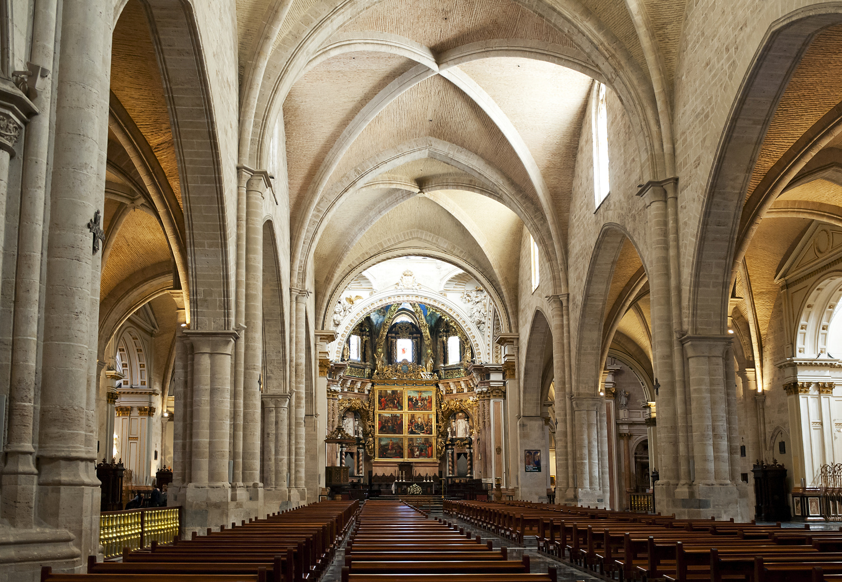Nave view inside Valencia Cathedral, Spain