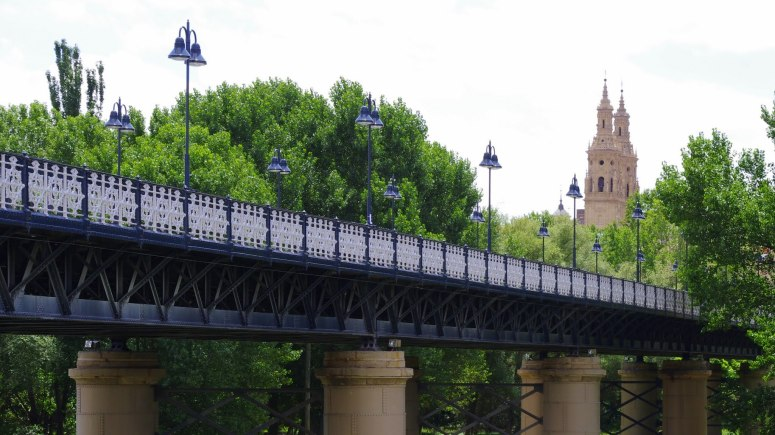 Iron bridge and cathedral, Logroño