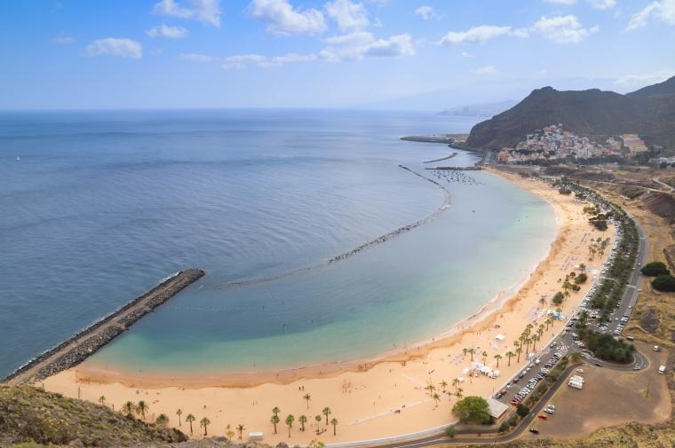 Aerial view of the North Atlantic Ocean and Playa de las Teresit
